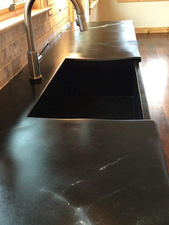 Bucks County Soapstone soapstone countertops wtih built-in apron front, soapstone kitchen sink