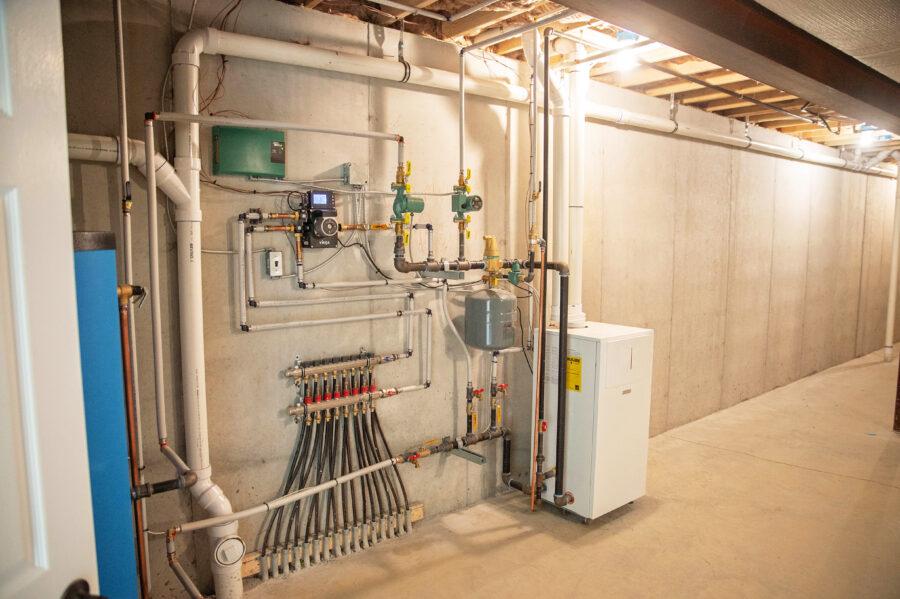 Radiant floor heating system installed in basement.