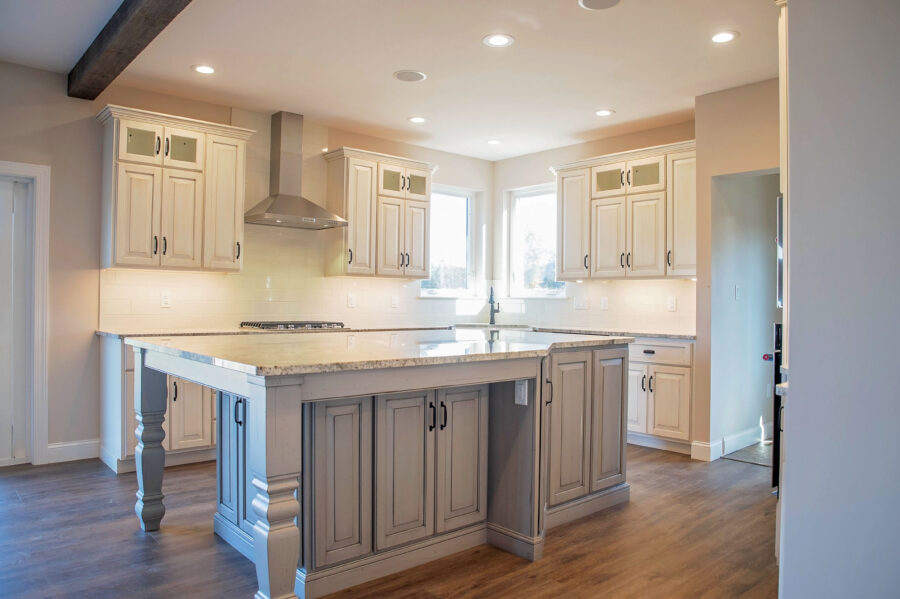 Customized Island in the center of the kitchen of the custom built home in Montgomery County.