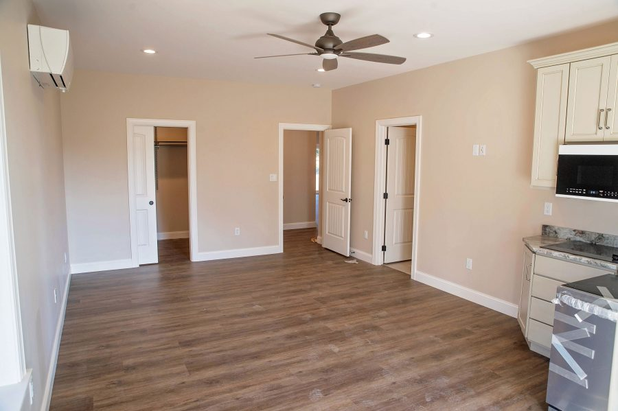 The custom built in-law suite with luxury vinyl plank flooring.