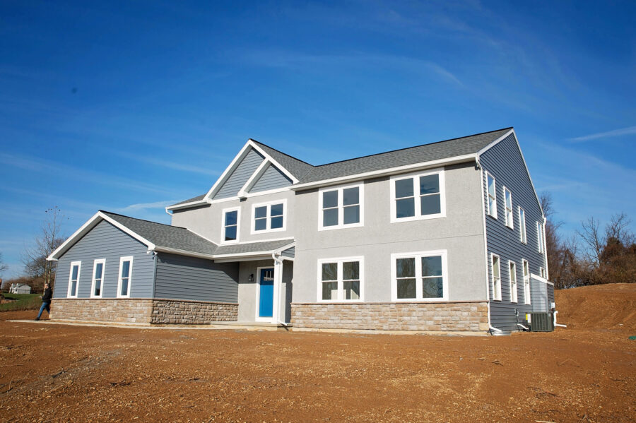 The front of a Berks County custom-built home.